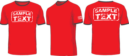 Front, back and side views of t-shirt  Vector Ilustração