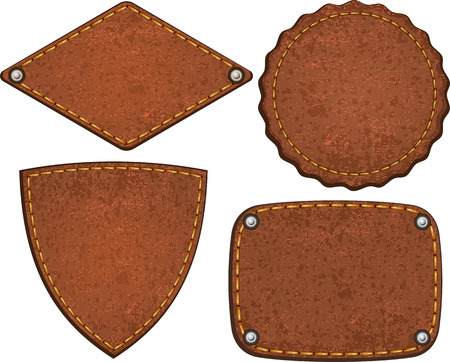 Set of different leather labels.  Vector