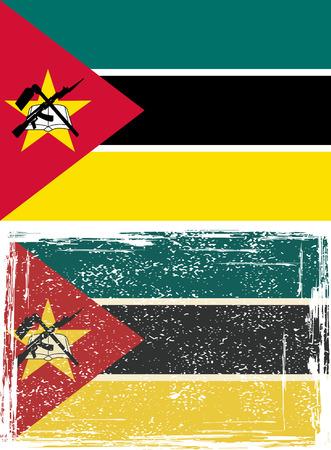 mozambique: Mozambique grunge flag.
