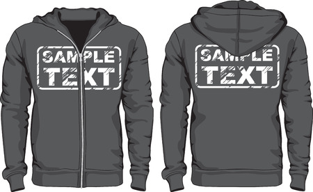 Men's hoodie shirts template. Front and back views.