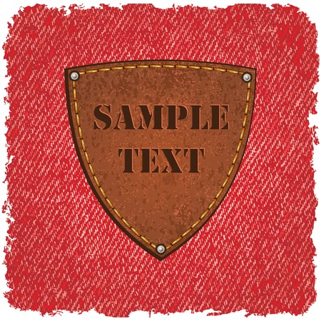 leather label: Jeans texture with leather label. Vector