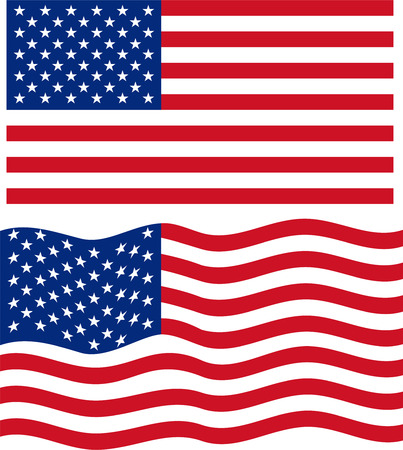 Flat and waving American Flag. Vector