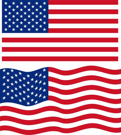 american flags: Planas y el agitar de la bandera americana. Vector
