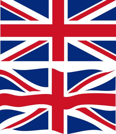 drapeau angleterre: Drapeau britannique plats et l'ondulation. Vecteur Illustration