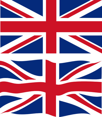 british flag: Flat and waving British Flag. Vector