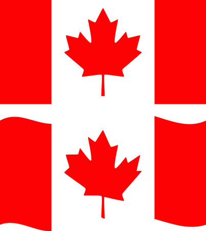 canadian flag: Flat and waving Canada Flag. Vector
