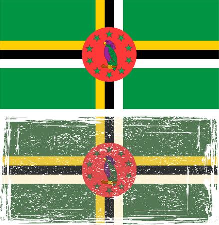 dominica: Dominica grunge flag.  Illustration