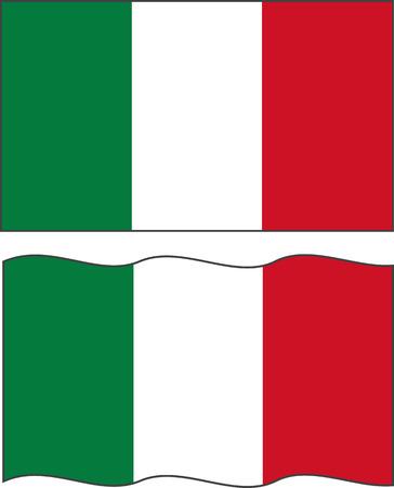 Flat and waving Italian Flag.