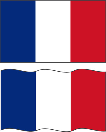 french symbol: Flat and waving French Flag.
