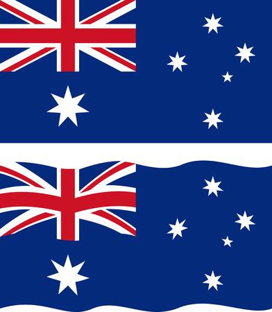 flag australia: Flat and waving Australian Flag.  Illustration