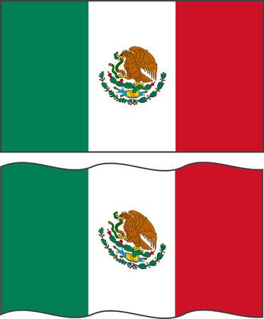 mexican flag: Bandierina messicana piatto e agitando.
