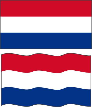 dutch flag: Flat and waving Dutch Flag.