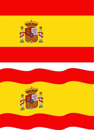 bandiera spagnola: Piatto e sventolando la bandiera spagnola. Vettoriali