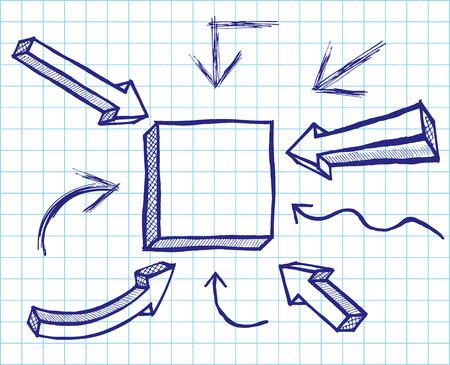 Arrows and frames sketchy elements. Vector Vector