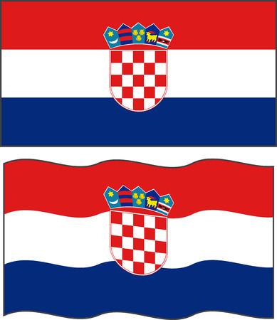 croatian: Flat and waving Croatian Flag. Vector