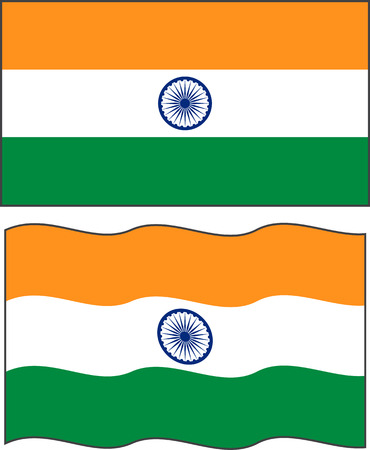 indian flag: Flat and waving Indian Flag. Vector