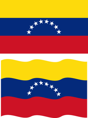venezuelan: Bandera venezolana planas y agitar. Vector