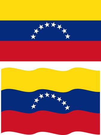 venezuelan: Flat and waving Venezuelan Flag. Vector