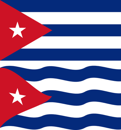 cuban flag: Flat and waving Cuban Flag. Vector