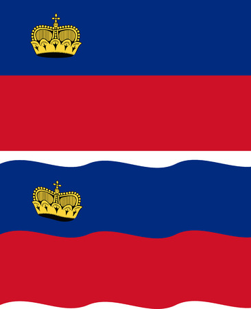 liechtenstein: Flat and waving Liechtenstein Flag. Vector