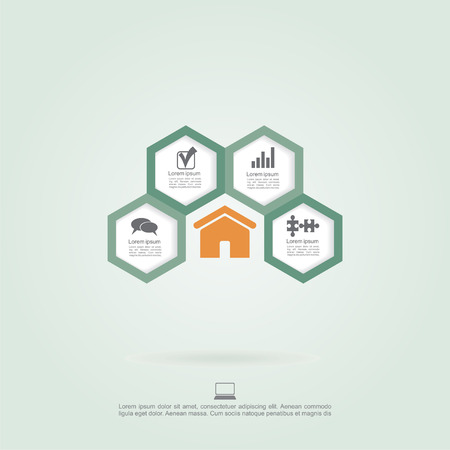Infographic honeycomb elements with icons. Vector Vector