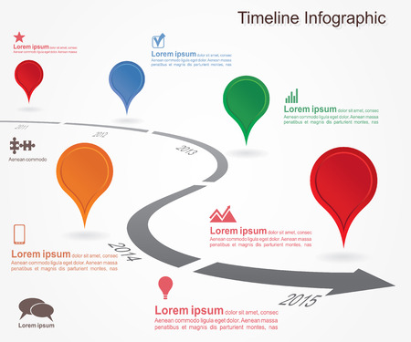 Timeline infographics with elements, icons.