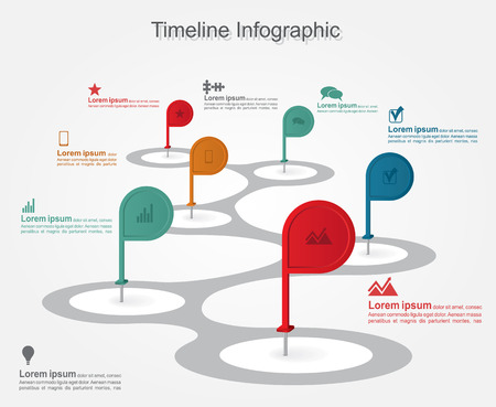 Timeline infographics with elements, icons. Vector