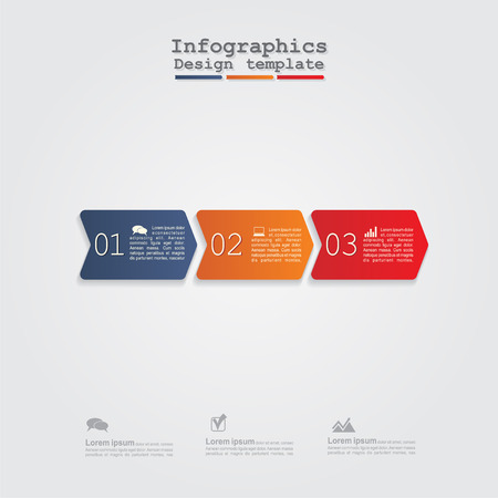 digit 3: Infographics with arrows. Vector illustration