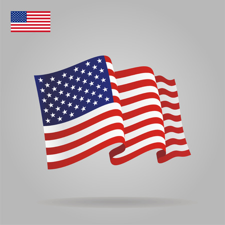 Flat and waving American Flag. Vector Фото со стока - 33032931