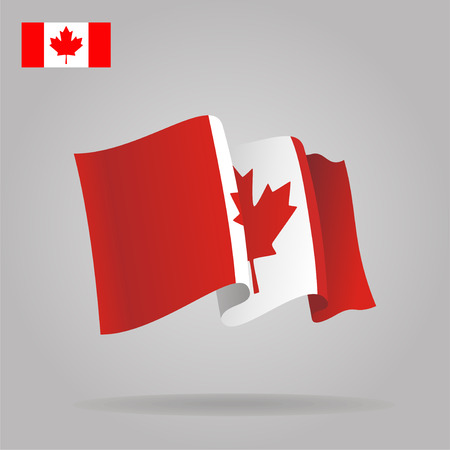 canadian flag: Flat and waving Canadian Flag. Vector Illustration