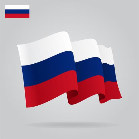 russian flag: Flat and waving Russian Flag.