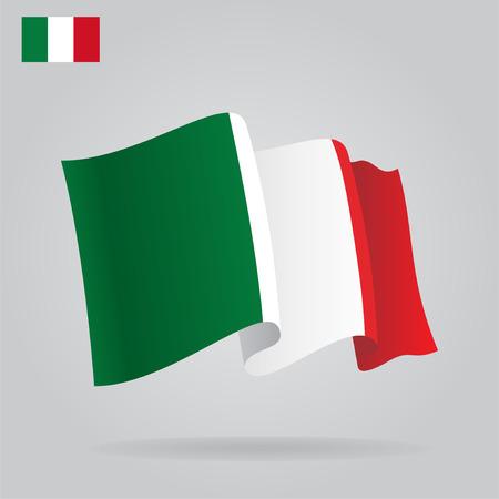 bandera italiana: Bandera italiana planas y agitar. Vectores
