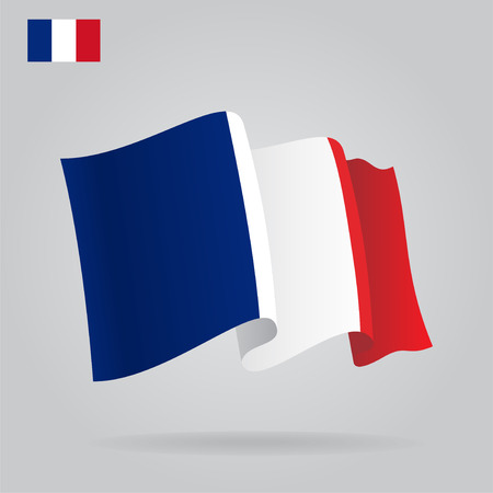 french culture: Flat and waving French Flag.