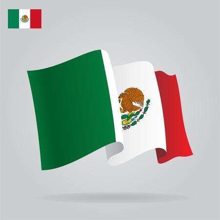 mexican flag: Bandierina messicana di appartamenti e agitando.