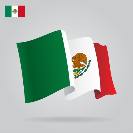 Flat and waving Mexican Flag.