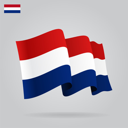 Flat and waving Dutch Flag.