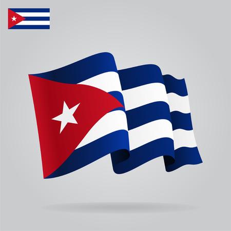 cubana: Bandera cubana planas y agitar.