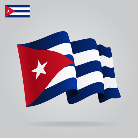 cuban flag: Flat and waving Cuban Flag.