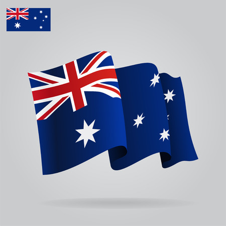 Flat and waving Australian Flag.  Ilustracja