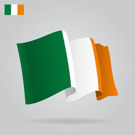 Flat and waving Irish Flag.  Vector