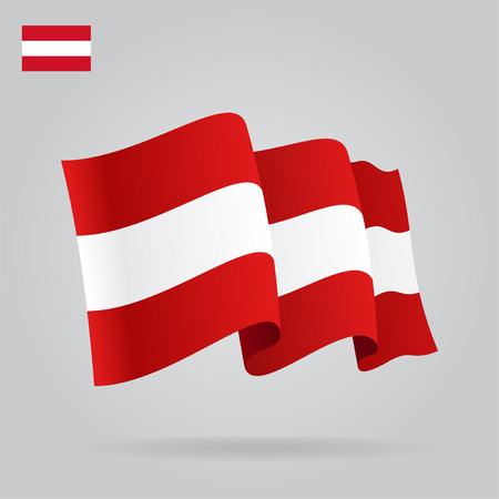 austrian flag: Flat and waving Austrian Flag. Vector Illustration