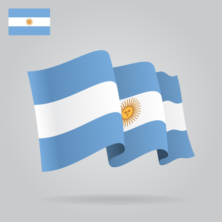 argentine: Flat and waving Argentine Flag. Vector