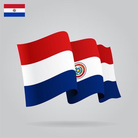 paraguayan: Flat and waving Paraguayan Flag. Vector Illustration