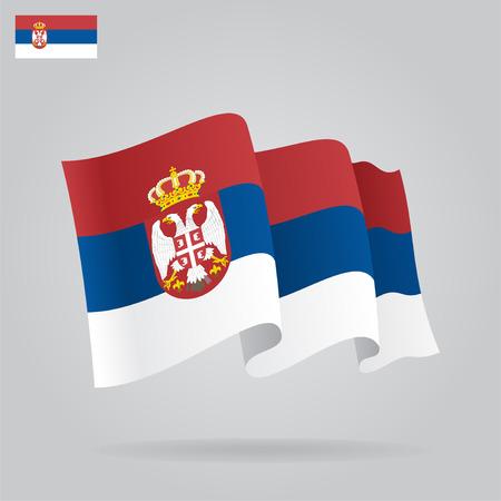 Flat and waving Serbian Flag. Vector Vector