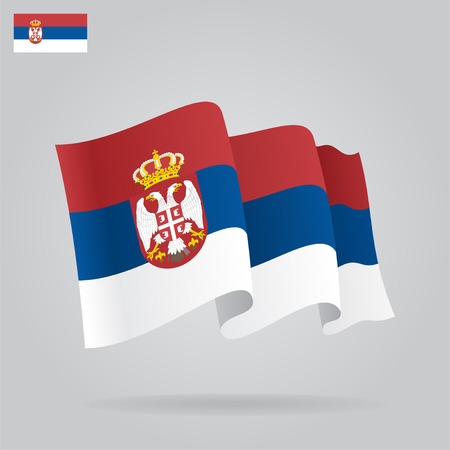 Flat and waving Serbian Flag. Vector