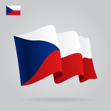 Flat and waving Czech Republic Flag. Vector Vector