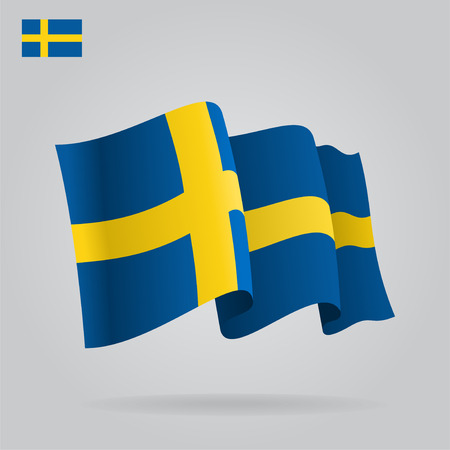the swedish flag: Flat and waving Swedish Flag. Vector