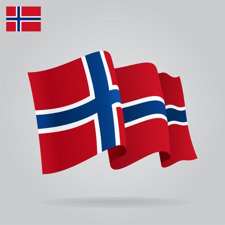 Flat and waving Norwegian Flag. Vector Vector