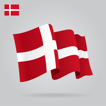 danish flag: Flat and waving Danish Flag. Vector Illustration