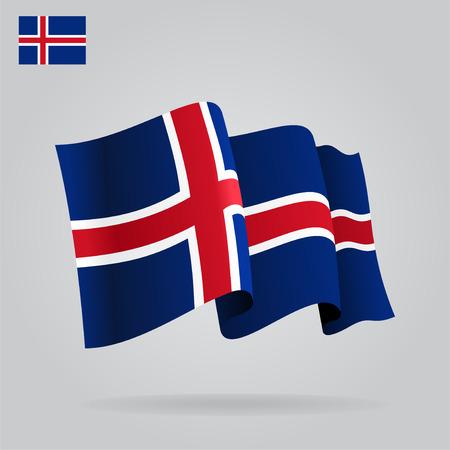 icelandic flag: Bandera de Islandia planas y agitar. Vector